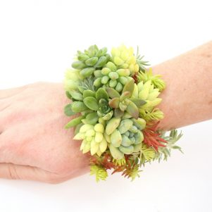 Cuff bracelet made with living succulents.