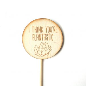 timber plant marker, plant spike, I think you're plantastic.