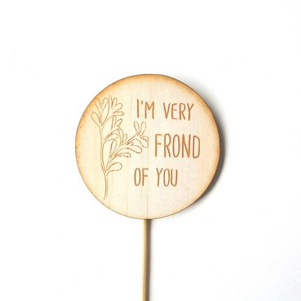 I'm very frond of you. Plant pun timber plant marker.